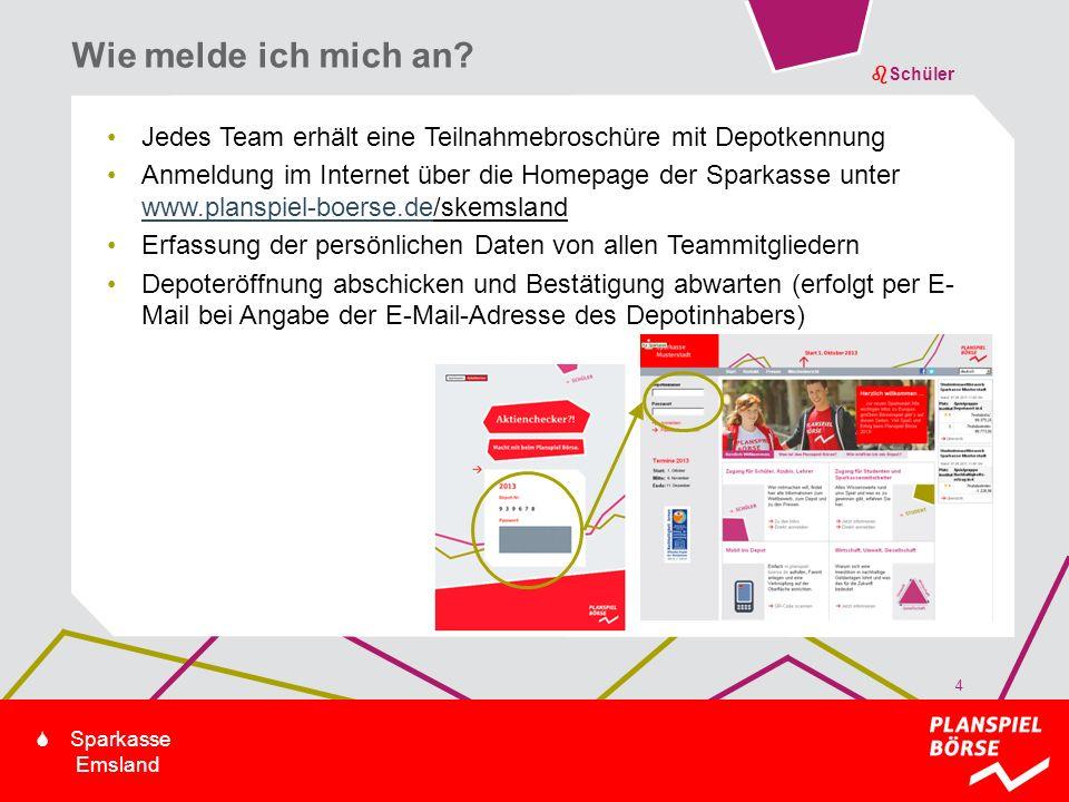bSchüler S Sparkasse Emsland Jedes Team erhält eine Teilnahmebroschüre mit Depotkennung Anmeldung im Internet über die Homepage der Sparkasse unter ww