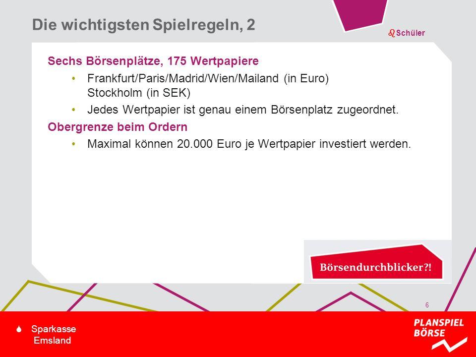 bSchüler S Sparkasse Emsland Sechs Börsenplätze, 175 Wertpapiere Frankfurt/Paris/Madrid/Wien/Mailand (in Euro) Stockholm (in SEK) Jedes Wertpapier ist