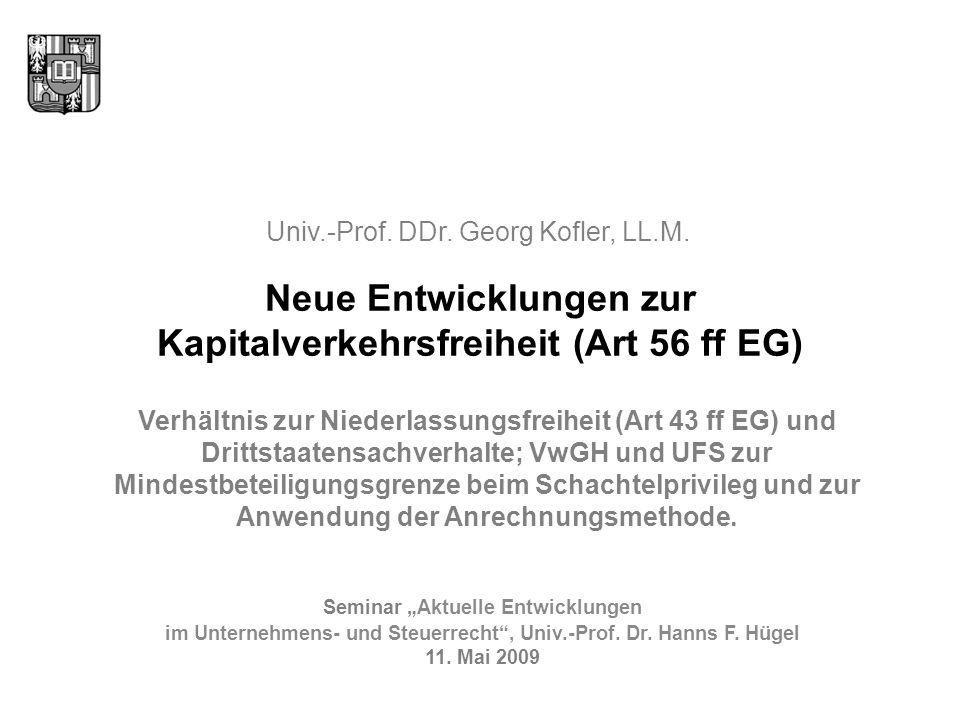 Übersicht Einfluss der Grundfreiheiten auf nationale Steuersysteme Kapitalverkehrsfreiheit und Drittstaaten (Art 56 und Art 57 EG) Unmittelbare Wirksamkeit Tatbestandliche Normenkonkurrenz Ausnahmeklausel (Art 57 EG) Rechtfertigung beschränkender Steuernormen (Art 58 EG) Ausblick 2
