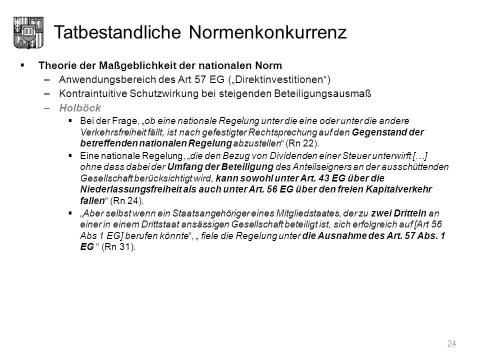 Tatbestandliche Normenkonkurrenz Theorie der Maßgeblichkeit der nationalen Norm –Anwendungsbereich des Art 57 EG (Direktinvestitionen) –Kontraintuitiv