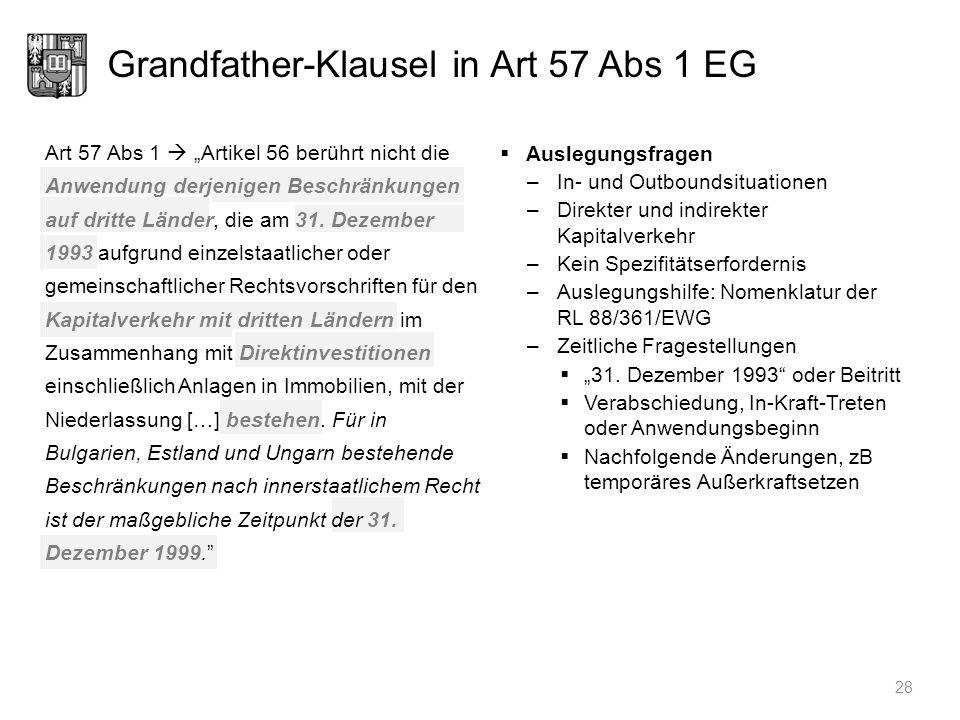 Grandfather-Klausel in Art 57 Abs 1 EG 28 Auslegungsfragen –In- und Outboundsituationen –Direkter und indirekter Kapitalverkehr –Kein Spezifitätserfor