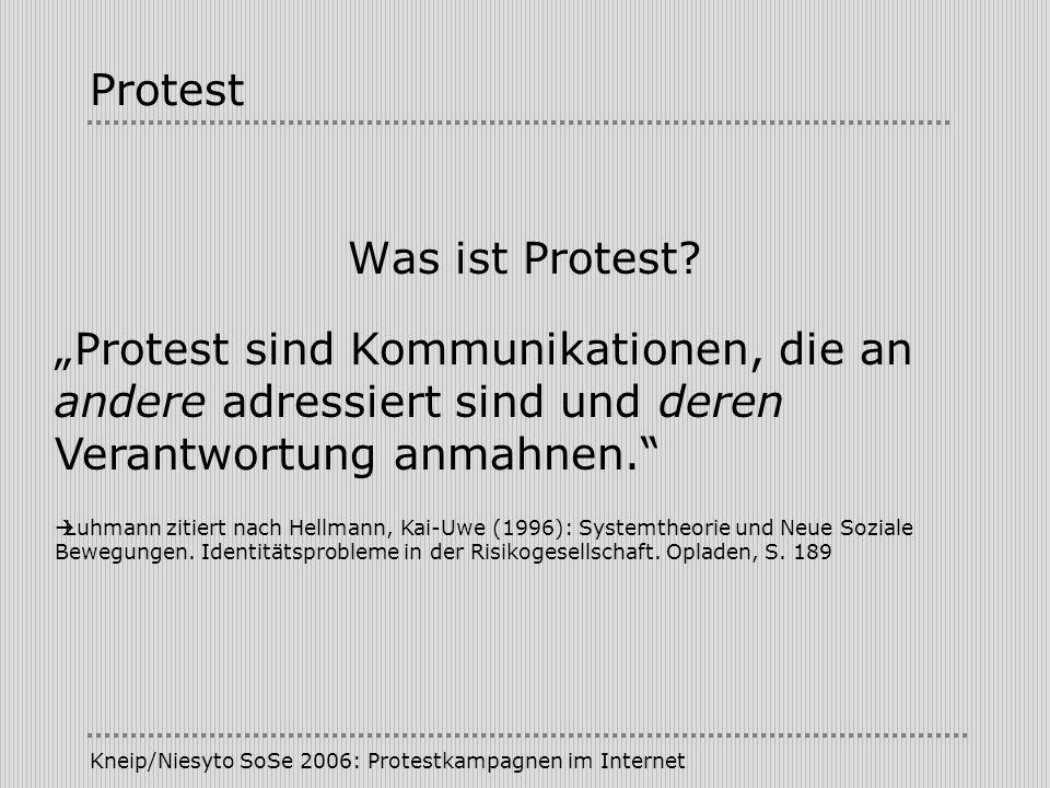 Kneip/Niesyto SoSe 2006: Protestkampagnen im Internet Kampagne/Klassifikationen Adressaten (Lahusen): - Elite-Campaigning - Public-Campaigning Stufen der Zielerreichung (Röttger): - Aufmerksamkeit - Glaubwürdigkeit/Vertrauen - Zustimmung - Anschlusshandeln