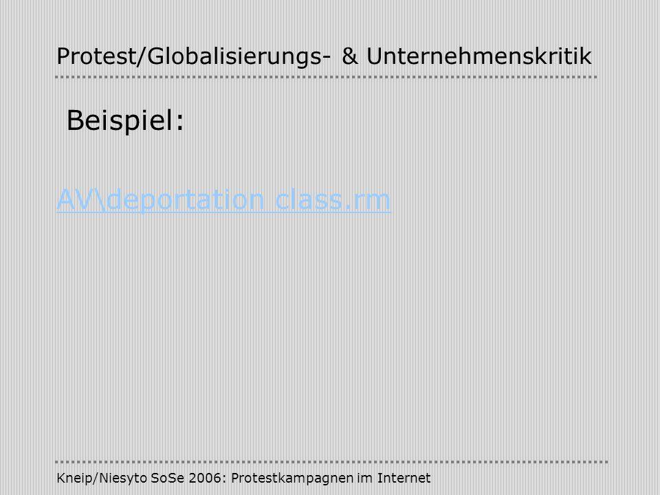 Kneip/Niesyto SoSe 2006: Protestkampagnen im Internet Protest/Globalisierungs- & Unternehmenskritik Beispiel: AV\deportation class.rm