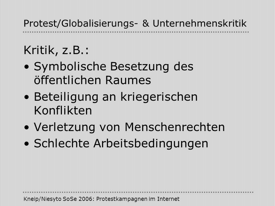 Kneip/Niesyto SoSe 2006: Protestkampagnen im Internet Protest/Globalisierungs- & Unternehmenskritik Kritik, z.B.: Symbolische Besetzung des öffentlich