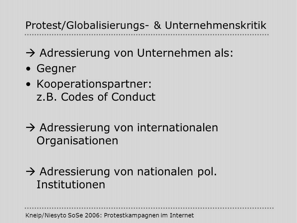 Kneip/Niesyto SoSe 2006: Protestkampagnen im Internet Protest/Globalisierungs- & Unternehmenskritik Adressierung von Unternehmen als: Gegner Kooperati