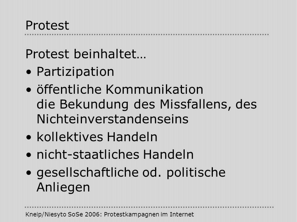 Kneip/Niesyto SoSe 2006: Protestkampagnen im Internet Kampagne/Klassifikationen Kampagnentypen (Lahusen): - Aufklärungskampagne - Aktionskampagne - Rekrutierungskampagne - Einflusskampagne Zeitdimension: - abgeschlossene Kampagnen - permanent campaigns