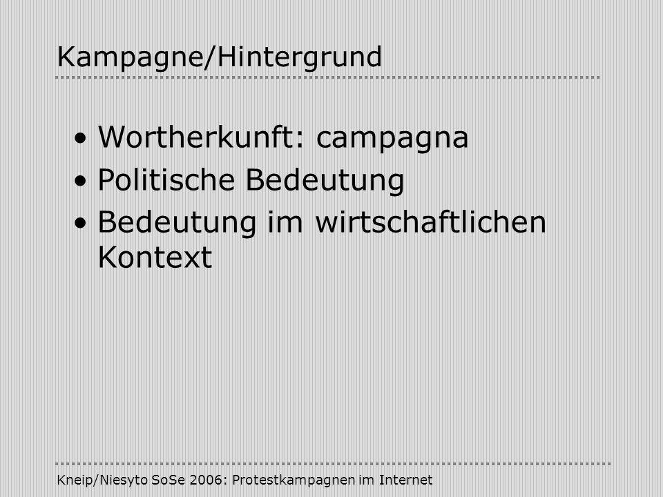 Kneip/Niesyto SoSe 2006: Protestkampagnen im Internet Kampagne/Hintergrund Wortherkunft: campagna Politische Bedeutung Bedeutung im wirtschaftlichen K