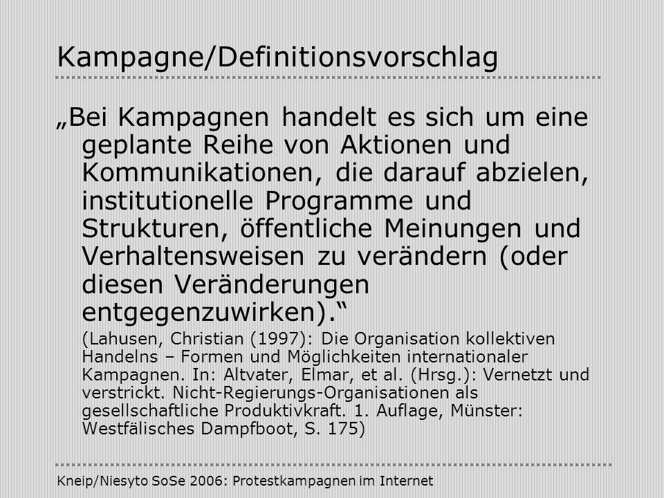 Kneip/Niesyto SoSe 2006: Protestkampagnen im Internet Kampagne/Definitionsvorschlag Bei Kampagnen handelt es sich um eine geplante Reihe von Aktionen