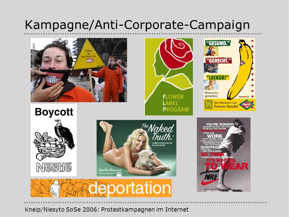 Kneip/Niesyto SoSe 2006: Protestkampagnen im Internet Kampagne/Anti-Corporate-Campaign