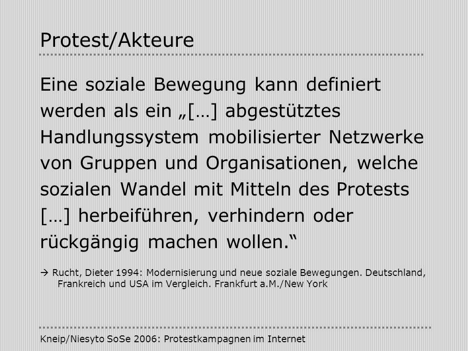 Kneip/Niesyto SoSe 2006: Protestkampagnen im Internet Kampagne/Kommunikation Kommunikationsebenen (Vowe) - Binnenkommunikation - Konfliktkommunikation - Medienkommunikation - Anschlusskommunikation Inszenierungsstrategien/symbolische Politik