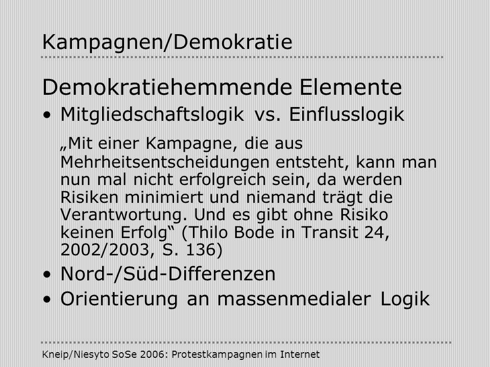 Kneip/Niesyto SoSe 2006: Protestkampagnen im Internet Kampagnen/Demokratie Demokratiehemmende Elemente Mitgliedschaftslogik vs. Einflusslogik Mit eine