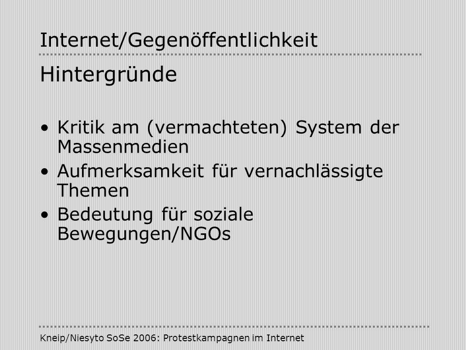 Kneip/Niesyto SoSe 2006: Protestkampagnen im Internet Internet/Gegenöffentlichkeit Hintergründe Kritik am (vermachteten) System der Massenmedien Aufme