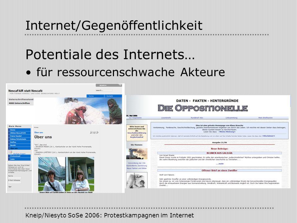 Kneip/Niesyto SoSe 2006: Protestkampagnen im Internet Internet/Gegenöffentlichkeit Potentiale des Internets… für ressourcenschwache Akteure
