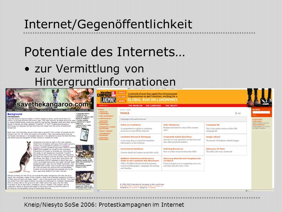 Kneip/Niesyto SoSe 2006: Protestkampagnen im Internet Internet/Gegenöffentlichkeit Potentiale des Internets… zur Vermittlung von Hintergrundinformatio