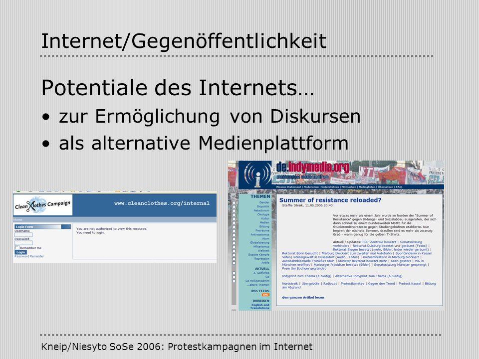 Kneip/Niesyto SoSe 2006: Protestkampagnen im Internet Internet/Gegenöffentlichkeit Potentiale des Internets… zur Ermöglichung von Diskursen als altern