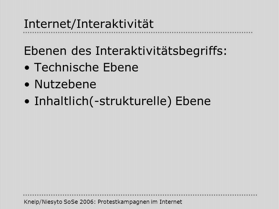 Kneip/Niesyto SoSe 2006: Protestkampagnen im Internet Internet/Interaktivität Ebenen des Interaktivitätsbegriffs: Technische Ebene Nutzebene Inhaltlic