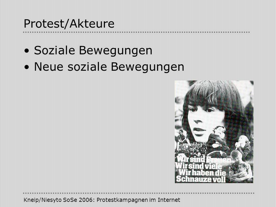 Kneip/Niesyto SoSe 2006: Protestkampagnen im Internet Protest/Akteure Bewegungsforschung untersucht: politische Prozesse und ihre Akteure soziale Voraussetzungen organisatorische Verfasstheit gesellschaftliche Auswirkungen des Handelns politischer Akteure