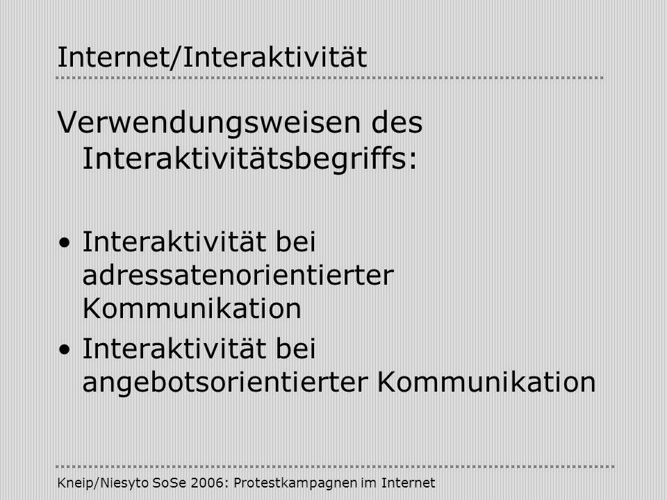 Kneip/Niesyto SoSe 2006: Protestkampagnen im Internet Internet/Interaktivität Verwendungsweisen des Interaktivitätsbegriffs: Interaktivität bei adress