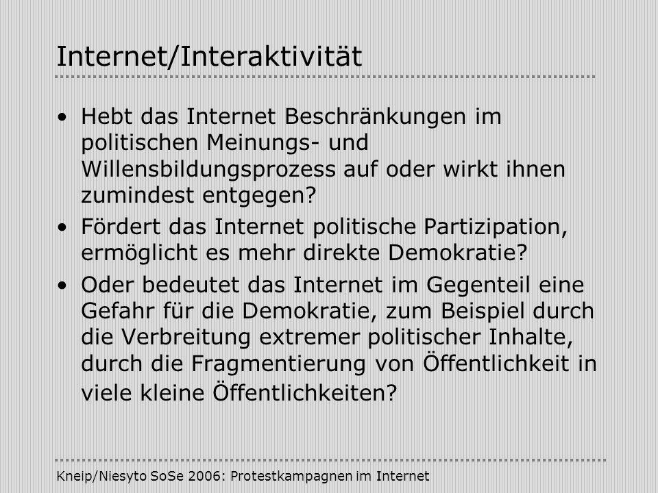 Kneip/Niesyto SoSe 2006: Protestkampagnen im Internet Internet/Interaktivität Hebt das Internet Beschränkungen im politischen Meinungs- und Willensbil