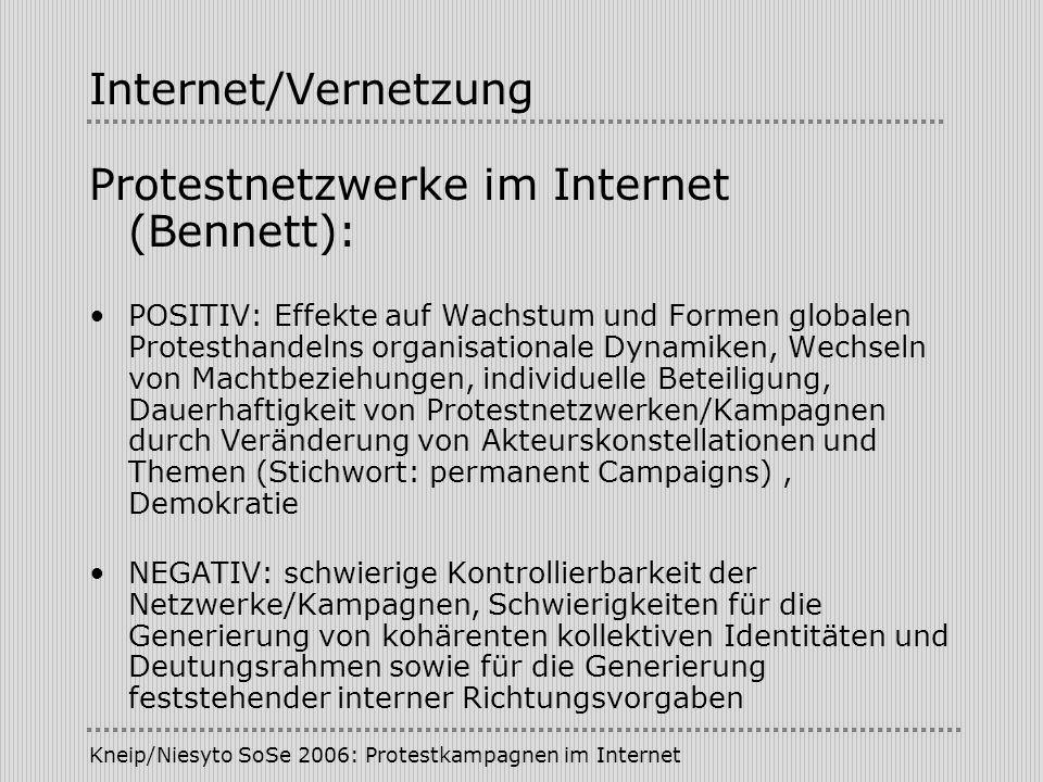 Kneip/Niesyto SoSe 2006: Protestkampagnen im Internet Internet/Vernetzung Protestnetzwerke im Internet (Bennett): POSITIV: Effekte auf Wachstum und Fo