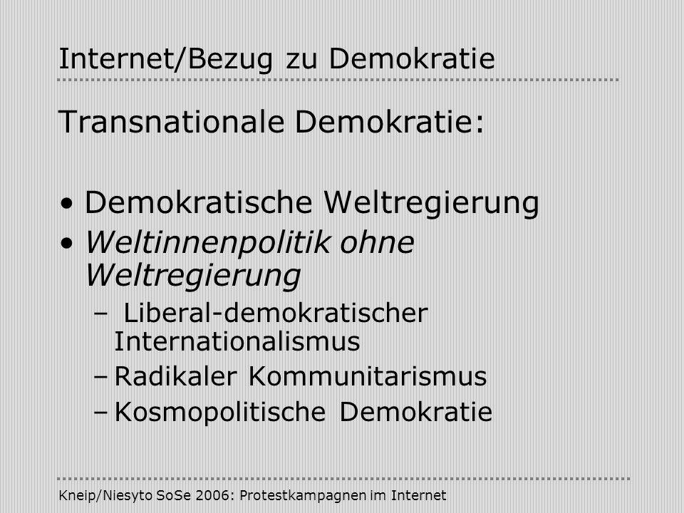 Kneip/Niesyto SoSe 2006: Protestkampagnen im Internet Internet/Bezug zu Demokratie Transnationale Demokratie: Demokratische Weltregierung Weltinnenpol
