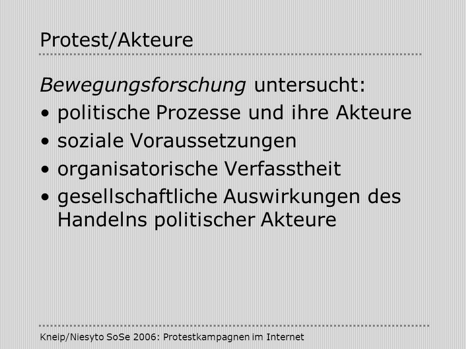 Kneip/Niesyto SoSe 2006: Protestkampagnen im Internet Internet/Gegenöffentlichkeit Kritische Perspektive Technikdeterminismus der Interneteuphoriker Fehlende physische Präsenz (Sichtbarkeit der Akteure) Bleibende Bedeutung der (massen-)medialen Öffentlichkeit - Encounter-Öffentlichkeit - Themen-Öffentlichkeit - Medien-Öffentlichkeit (Neidhardt)