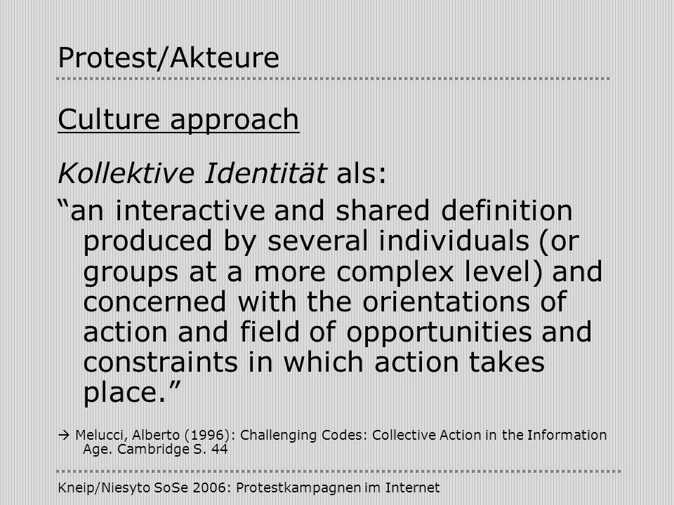 Kneip/Niesyto SoSe 2006: Protestkampagnen im Internet Internet/Interaktivität Ebenen des Interaktivitätsbegriffs: Technische Ebene Nutzebene Inhaltlich(-strukturelle) Ebene