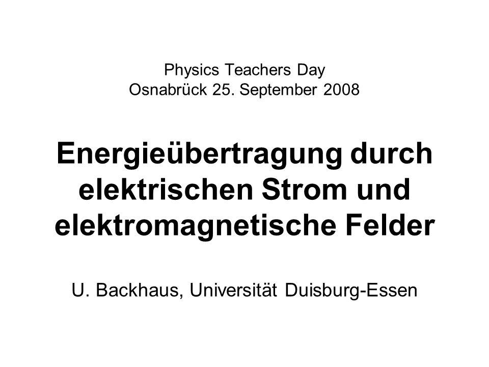 Physics Teachers Day Osnabrück 25. September 2008 Energieübertragung durch elektrischen Strom und elektromagnetische Felder U. Backhaus, Universität D