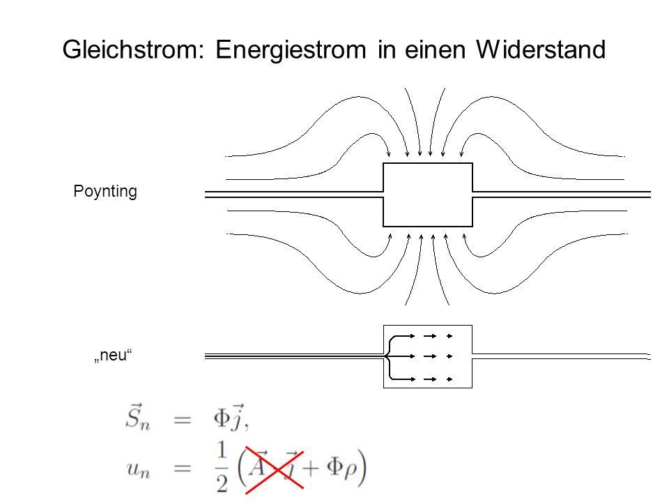 Gleichstrom: Energiestrom in einen Widerstand Poynting neu
