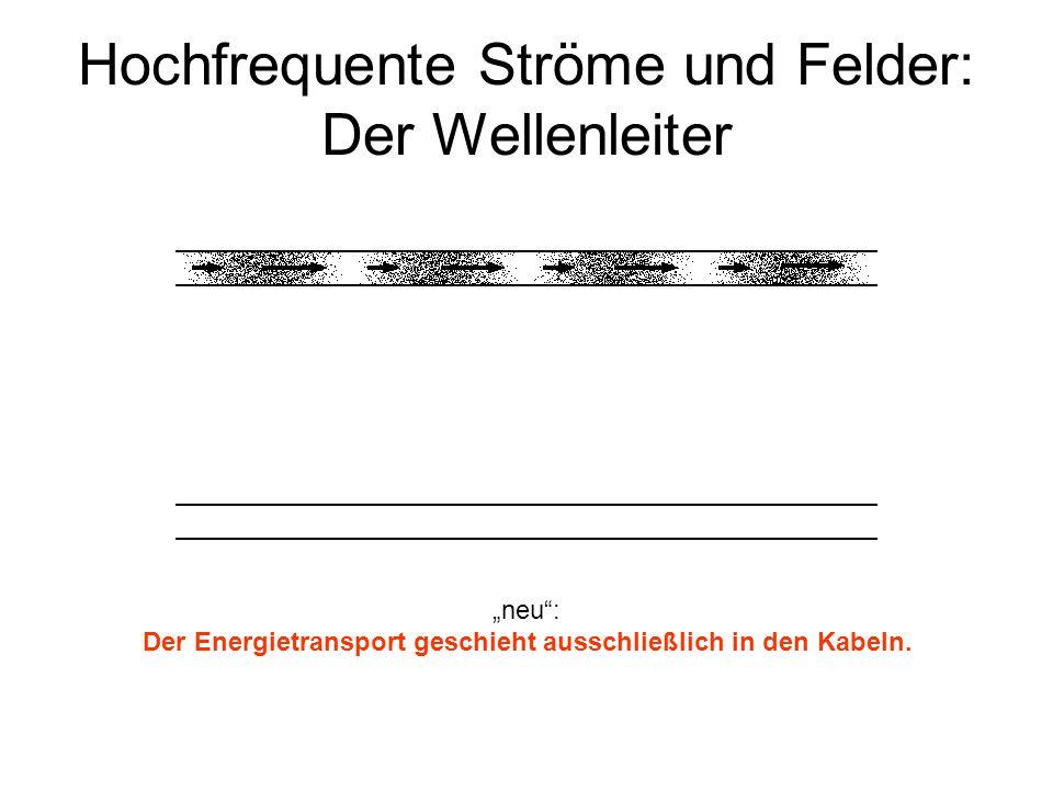 Hochfrequente Ströme und Felder: Der Wellenleiter neu: Der Energietransport geschieht ausschließlich in den Kabeln.