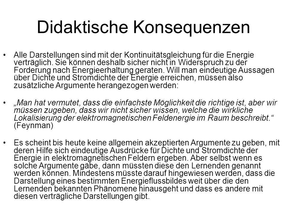 Didaktische Konsequenzen Alle Darstellungen sind mit der Kontinuitätsgleichung für die Energie verträglich. Sie können deshalb sicher nicht in Widersp