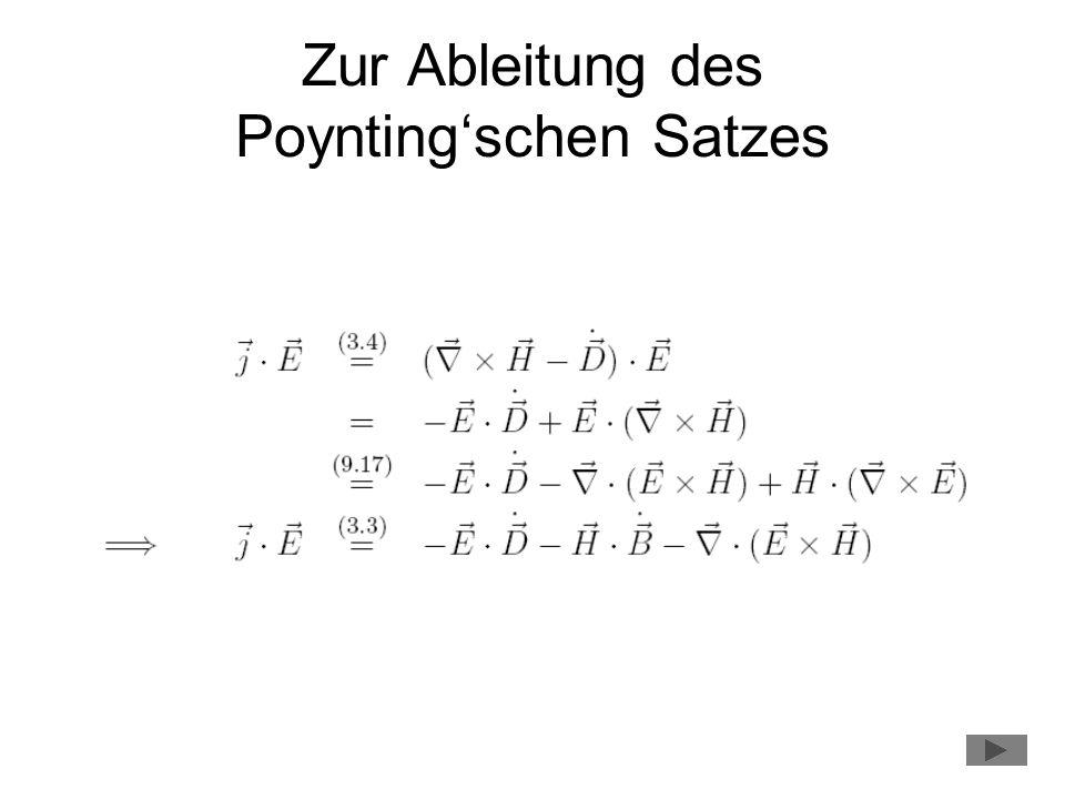 Zur Ableitung des Poyntingschen Satzes