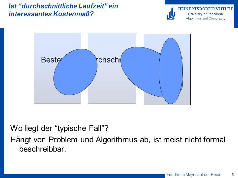 Friedhelm Meyer auf der Heide 5 HEINZ NIXDORF INSTITUTE University of Paderborn Algorithms and Complexity Ist durchschnittliche Laufzeit ein interessa
