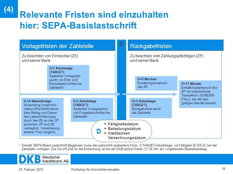 21. Februar 2013Workshop für Immobilienverwalter 14 Europaweit Geldeinzüge tätigen: Überblick SEPA-Basislastschriftverfahren (II) Festgelegte Vorlagef
