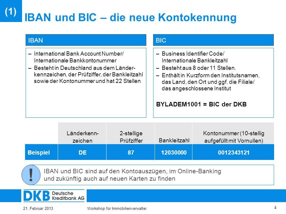 21. Februar 2013Workshop für Immobilienverwalter 3 SEPA umfasst 32 Teilnehmerstaaten Teilnehmende Länder Land Belgien Bulgarien Dänemark Deutschland E
