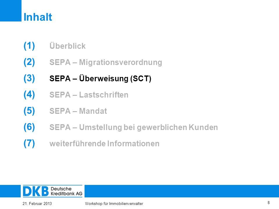 21. Februar 2013Workshop für Immobilienverwalter 7 31.03.2012 EU- Verordnung tritt in Kraft –Verpflichtung zur Erreichbarkeit für die SEPA-Überweisung
