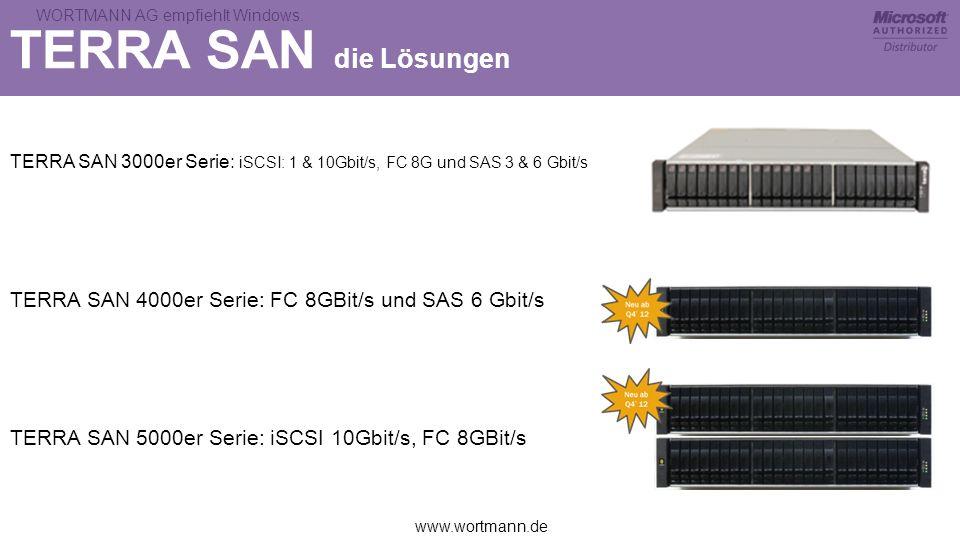 www.wortmann.de WORTMANN AG empfiehlt Windows. TERRA SAN die Lösungen TERRA SAN 3000er Serie: iSCSI: 1 & 10Gbit/s, FC 8G und SAS 3 & 6 Gbit/s TERRA SA