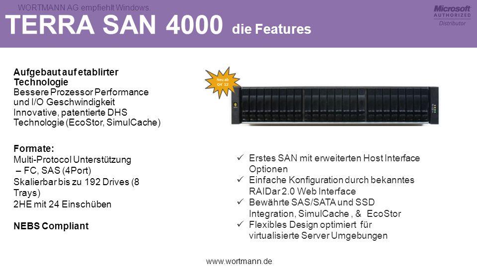 www.wortmann.de WORTMANN AG empfiehlt Windows. TERRA SAN 4000 die Features Aufgebaut auf etablirter Technologie Bessere Prozessor Performance und I/O