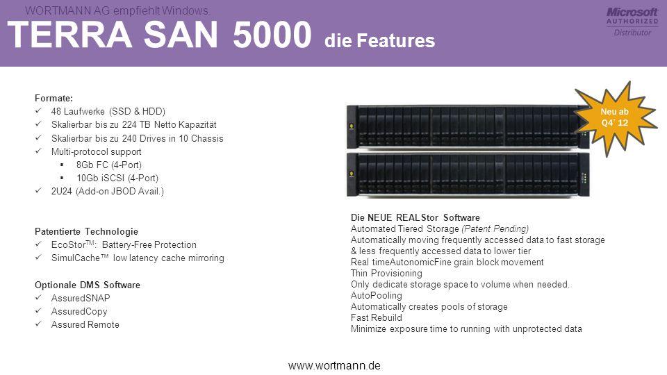 www.wortmann.de WORTMANN AG empfiehlt Windows. TERRA SAN 5000 die Features Formate: 48 Laufwerke (SSD & HDD) Skalierbar bis zu 224 TB Netto Kapazität