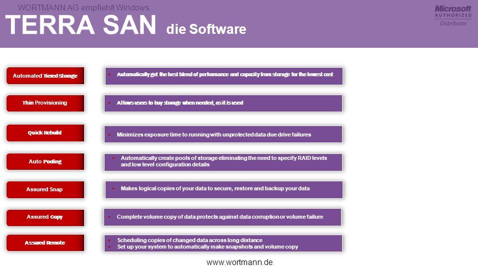 www.wortmann.de WORTMANN AG empfiehlt Windows. TERRA SAN die Software Automated Tiered Storage Automatically get the best blend of performance and cap