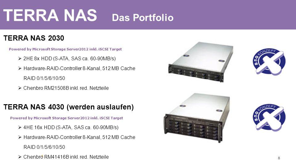 TERRA NAS Das Portfolio TERRA NAS 2030 Powered by Microsoft Storage Server2012 inkl. iSCSI Target 2HE 8x HDD (S-ATA, SAS ca. 60-90MB/s) Hardware-RAID-