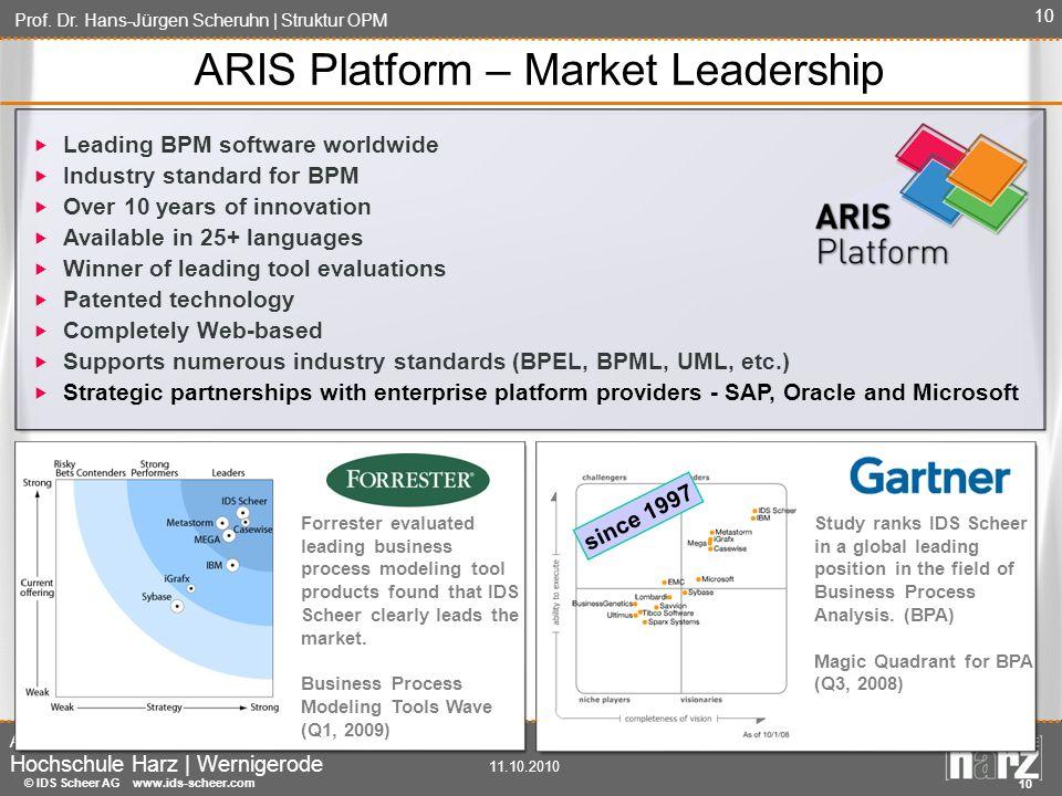Prof. Dr. Hans-Jürgen Scheruhn | Struktur OPM Automatisierung und Informatik Hochschule Harz | Wernigerode 11.10.2010 10 ARIS Platform – Market Leader