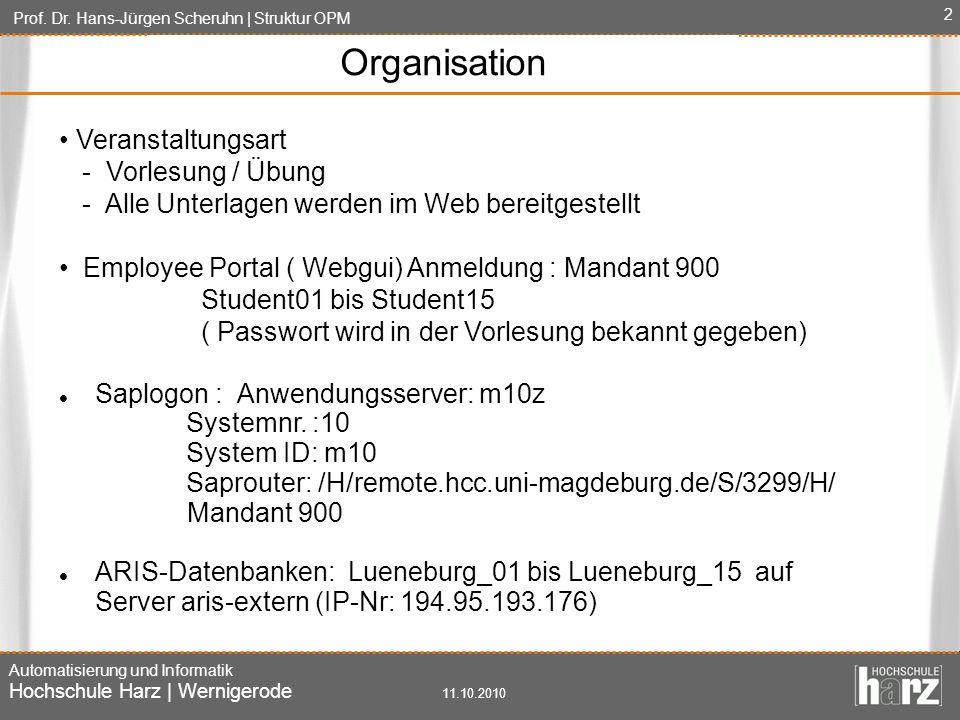 Prof. Dr. Hans-Jürgen Scheruhn | Struktur OPM Automatisierung und Informatik Hochschule Harz | Wernigerode 11.10.2010 2 Organisation Veranstaltungsart
