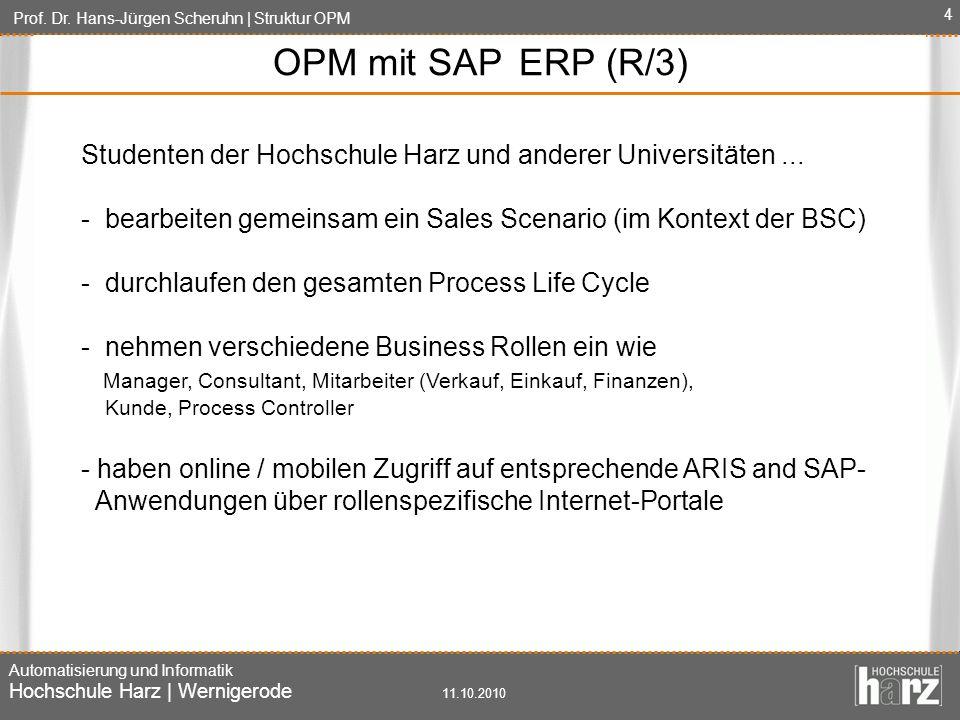 Prof. Dr. Hans-Jürgen Scheruhn | Struktur OPM Automatisierung und Informatik Hochschule Harz | Wernigerode 11.10.2010 4 OPM mit SAP ERP (R/3) Studente