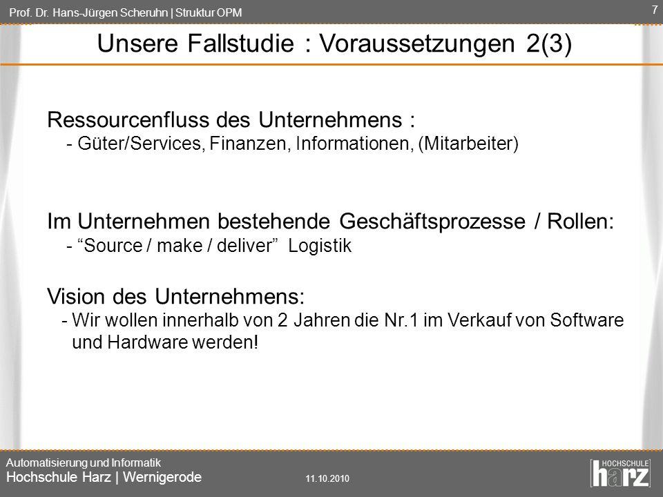 Prof. Dr. Hans-Jürgen Scheruhn | Struktur OPM Automatisierung und Informatik Hochschule Harz | Wernigerode 11.10.2010 7 Ressourcenfluss des Unternehme