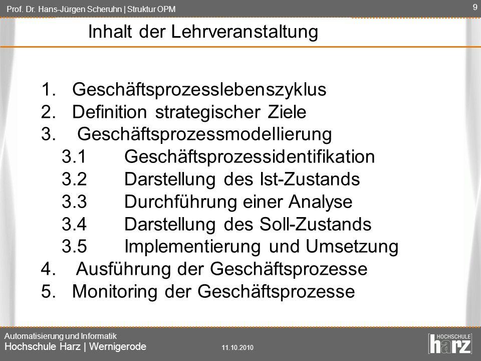 Prof. Dr. Hans-Jürgen Scheruhn | Struktur OPM Automatisierung und Informatik Hochschule Harz | Wernigerode 11.10.2010 9 1. Geschäftsprozesslebenszyklu