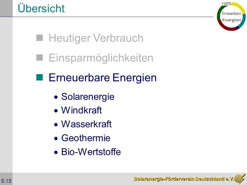 Solarenergie-Förderverein Deutschland e.V. S.13 Übersicht Heutiger Verbrauch Einsparmöglichkeiten Erneuerbare Energien Solarenergie Windkraft Wasserkr