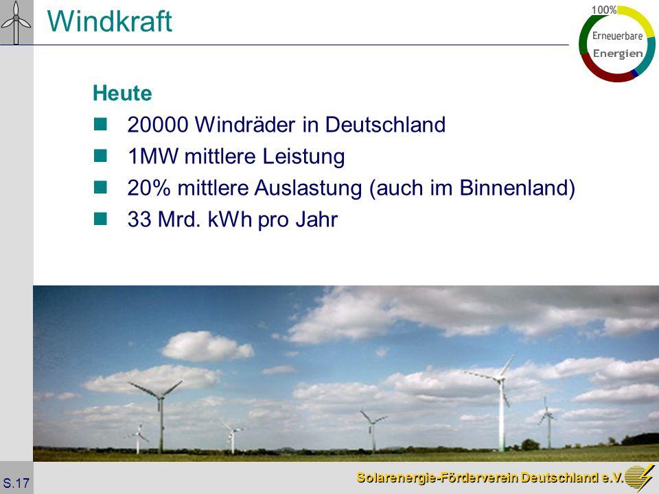 Solarenergie-Förderverein Deutschland e.V. S.17 Windkraft Heute 20000 Windräder in Deutschland 1MW mittlere Leistung 20% mittlere Auslastung (auch im