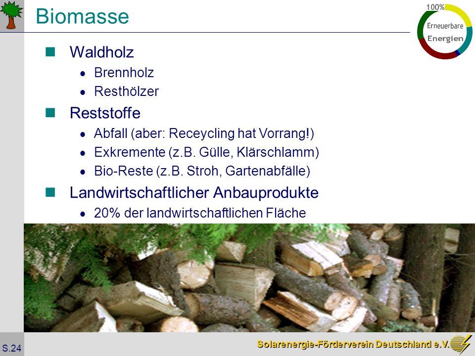 Solarenergie-Förderverein Deutschland e.V. S.24 Biomasse Waldholz Brennholz Resthölzer Reststoffe Abfall (aber: Receycling hat Vorrang!) Exkremente (z