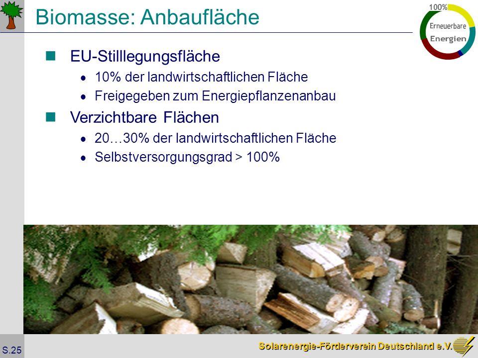 Solarenergie-Förderverein Deutschland e.V. S.25 Biomasse: Anbaufläche EU-Stilllegungsfläche 10% der landwirtschaftlichen Fläche Freigegeben zum Energi